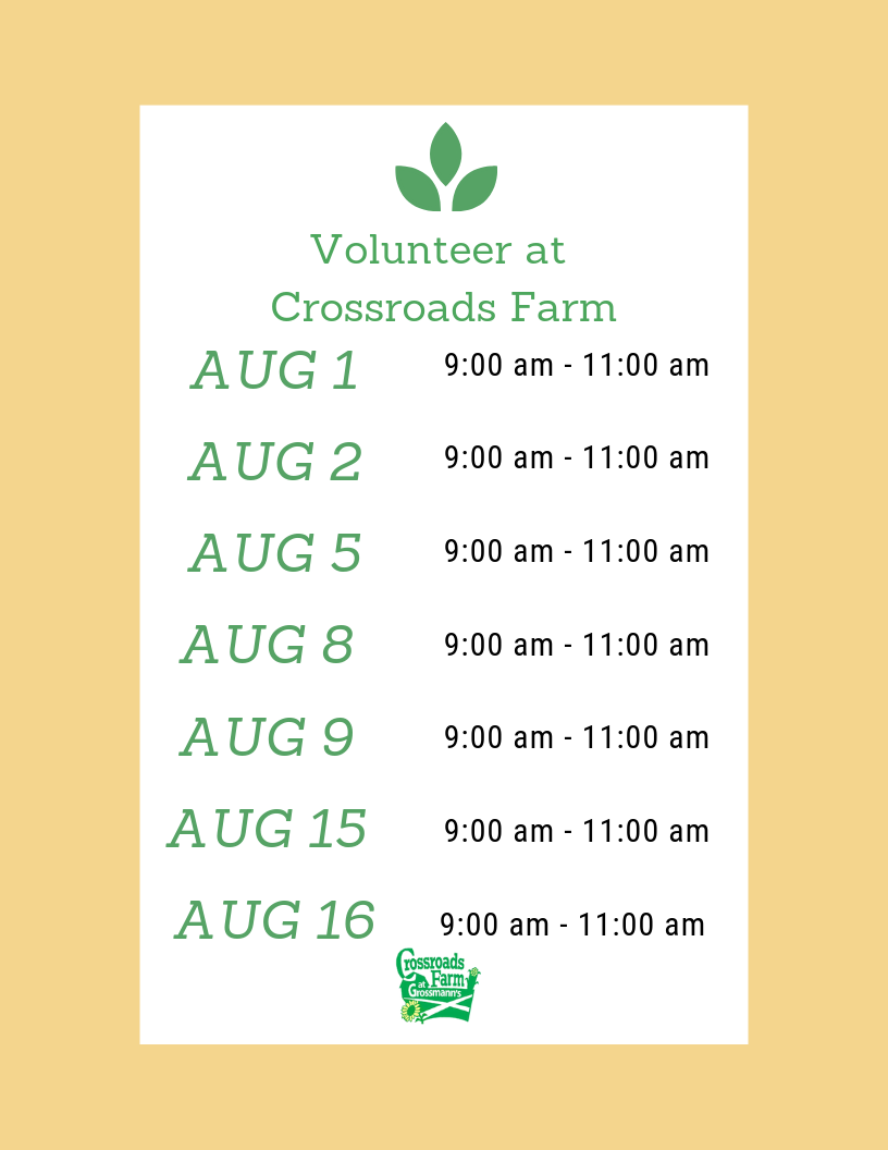 August Volunteer Dates