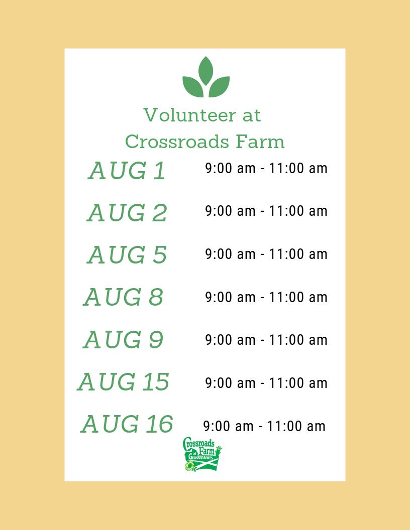 August Volunteer Dates
